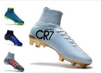 Wholesale new children shoes for sale - New Red Gold Mercurial Superfly V Vapor Soccer Cleats Cristiano Ronaldo Men CR7 Kids Soccer Shoes Children Rising Fast Pack Soccer Shoes