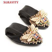 düz ayakkabı kristalleri toptan satış-XGRAVITY Arı Tasarımcı Kristal Kadın Büyük Boy Düz Ayakkabı Zarif Rahat Lady Moda Rhinestone Kadınlar Yumuşak Kız Ayakkabı A031