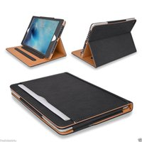 Wholesale leather folio case for ipad for sale - For iPad BlackTan Leather Wallet Stand Flip Case Smart Cover With Card Slots for iPad Air Pro Air2