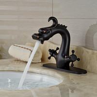 aceite frotado bronce lavabos de baño al por mayor-Al por mayor y al por menor de baño bronce aceitado llaves del grifo de los lomos del dragón del grifo de fregadero de la vanidad del fregadero grifo Animal duales