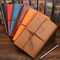 Wholesale Travel Planner Book - 14.5*10.5cm Travelers Notebook Diary Notepad Vintage literature PU a6 Leather Note Book Stationery Gift Traveler Journal planners