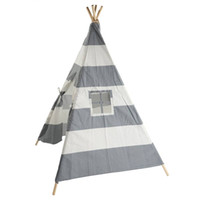Wholesale toy teepee - Canvas Teepee Canopy Tent Playhouse Kids toy teepee tent Play room Indoor outdoor Portable Kids Playhouse Sleeping Dome Teepee Tent US stock
