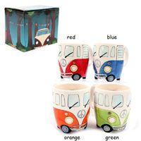kutu kupaları toptan satış-Ücretsiz Kargo F1 Camper Van Adventures! Retro Araba Kupa Seramik Hippi Kahve Kupa Hediye Kutusu ile GBN-039