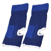 soporte de tobillo azul al por mayor-Par de patrón de rayas azul negro estirable soporte talón del tobillo abierto