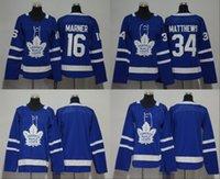 camisa de folha de bordo dos miúdos venda por atacado-2018 Homens Mulheres Juventude Crianças Toronto Maple Leafs 16 Mitchell Marner 34 Auston Matthews Em Branco Azul Jerseys Todos Stiched Hóquei Jersey Boy Girls