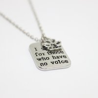 "Wholesale Jewelry For Dog Lovers - 12pcs lot hand stamped Necklace I speak for those who have no voice""pendant Necklace, paw print charm necklace dog lover jewelry"
