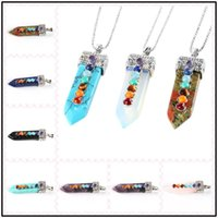 Wholesale opal pendant rose gold chain - Fasinating 13 Styles 15*53mm Sword Shaped Plated Necklace Healing Pendants Energy Banlance Chockers Chakra Crystal Jewelry as Gifts