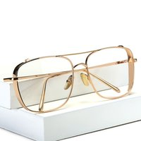 gözlük büyük boy camlar toptan satış-Kare Boy Vintage Şeffaf Lens Gözlük Güneş Gözlüğü Altın Çerçeve Erkekler Kadınlar miyopi gözlük kadın gözlükler óculos de grau