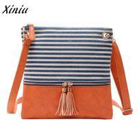 дизайнерские женские сумки оптовых-Xiniu новый модный дизайнер роскошные сумки женские сумки повседневная холст полосатый шить кисточкой сумка женский bolsas