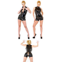 Wholesale sexy pvc clothing for sale - Sexy Lingerie Latex Pvc Jumpsuit Costume Women s Black Catsuit Pole Dance Clothes Playsuit Nightclub Bodysuit