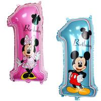 globos de aluminio felices al por mayor-30 pulgadas inflable grande Baby Shower Ballons Big Number 1 bebé feliz cumpleaños Foil Globos niños cumpleaños decoraciones globo de helio
