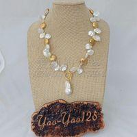 keshi perlas collar blanco al por mayor-N051110 18 '' blanco Keshi Pearl dorado plateado collar de perlas Keshi Pearl colgante