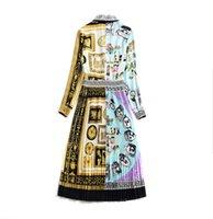 vestidos vintage de comprimento de bezerro venda por atacado-Senhoras Runway Moda Vestidos de 2018 Outono Nova Chegada WYG Ouro Plissado A Linha Mid-calf Comprimento Fêmeas Vestido de Retalhos Do Vintage