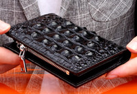 Wholesale men wallets online - Cost prices on sale Men leather wallets cm short wallets Crocodile grain real leather with zipper to close excellent quaity
