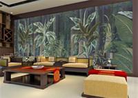 amerikanischen stil tapete groihandel-American Retro Ölgemälde Wallpaper Wallpaper amerikanischen Stil tropischen Regenwald Pflanze große Wandbild benutzerdefinierte Hintergrundbild
