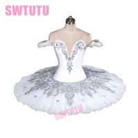 reina cisne al por mayor-White Swan Profesional Snow White Queen YAGP Ballet Tutu Adultos Cascanueces Classical Platter Ballet Escenario Traje WomanBT9082A