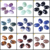 ágata olho natural venda por atacado-CSJA 1 PC Natural Gemstone Cabochão Oval Beads 13x18mm Gem Pedra para Anéis DIY Handmade Artesanato Jóias Sem Furo Ágata Jade Olho de Tigre T003