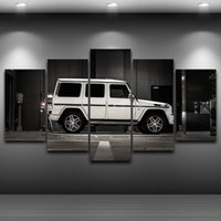Wholesale Asian Wall Panels - 5 Pcs Set Framed HD Printed White SUV Modern Car Wall Canvas Print Poster Asian Modern Art Oil Paintings Pictures