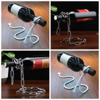 Wholesale Red Rack Wine - Magic Illusion Floating Red Wine Bottle Holder Rope Lasso Wine Bottle Rack Stand Ehisky Ehiskey Kitchen Bar Pub Accessories CCA9146 50pcs