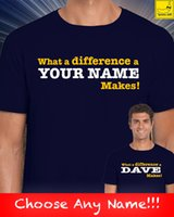 doğum günü partisi isimleri toptan satış-Ne Bir Fark Kişiselleştirilmiş Adı Hediye Yenilik T-Shirt Doğum Günü Partisi Özel Stil Vintage Tees Kısa Kollu Komik