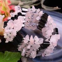 magnetische armbänder halsketten großhandel-SUNYIK rosa Quarz Kristall Chips Stein magnetische Hämatit Perlen Armband Armband Choker Halskette