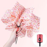 12 de fevereiro venda por atacado-Anti-UV Três Dobrável À Prova de Vento guarda-chuva de Chuva para As Mulheres Presente Moda 12 Meses de Garantia de chuva de Sol Mulheres Guarda-chuvas