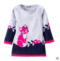 Wholesale 2t Sweater Dress - Ins Kids Winter Warm Dress Fashion Girl A-line Fox Sweater Lace Dresses Knitted Long Sleeve O Neck Children Clothing Party Wear Dress 2-7Y