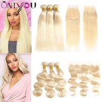 Wholesale colored ombre hair online - Raw Brazilian Virgin Hair Blonde Bundles with Lace Frontal Closure Straight Body Wave Colored Ombre Human Hair Bundles with Closures