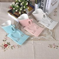 Wholesale Tea Trays Wholesale - Ceramics Heart Shaped Coffee Mug Loves Tea Cup And Saucer Heat Resisting Multi Color 13 5zz C R