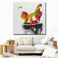 animaux de verre modernes achat en gros de-Peint à la main Cool Animal couleur chien avec verre Art peinture moderne abstrait peinture à l'huile sur toile décoration pour chambre Home DecoA128
