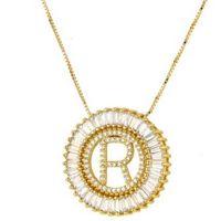 ingrosso ot gioielli d'oro-collana di gioielli di design per donna uomo zircone 26 lettere ciondolo cerchio colore oro ot fashion of shipping