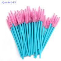 ingrosso spazzole di trucco azzurro-Nuovo arrivato 200 pz blu maniglia rosa spazzole top quality nylon monouso mascara bacchette ciglia pennelli trucco estensione ciglia D18110902