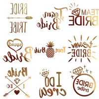 Wholesale Glitter Temporary Tattoos - 5Pcs lot Color Random Flash Bride Tribe Temporary Tattoo Sticker Bachelor Party Wedding Party Body Art Glitter Tattoo Decals