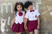 Wholesale girls school uniform skirts - Children Cute Cotton Korean Japanese Student School Uniform for Girls Boys Kid Collar Shirt Top Pleated Skirt Shorts Tie Clothes