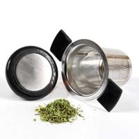 neue tee infuser edelstahl silikon großhandel-Neues Edelstahl-Maschen-Tee-Ei mit Silikon-Griff-wiederverwendbarem Sieb Lose Teeblatt-Filter für Küche, die Stab-Werkzeug-Geschenke HH7-1018 speist