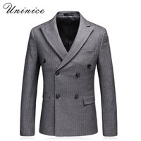 Wholesale suite jackets - New Men's Korean Slim Double Breasted Suite Pinstripe Suit Jacket Blazer Autumn Winter Foraml Business Gentleman Suit Coats