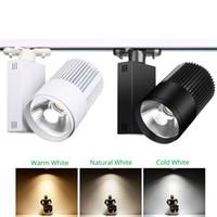 seguimiento de cable al por mayor-Iluminación de riel Lámpara de riel Spot 20W 30W COB Ropa Zapatos Tienda Luces de riel Foco LED Foco Luminaria 2/3/4 de cable