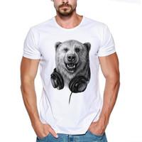 gracejo camiseta venda por atacado-DJ Animal Urso Jogar Música Madeiras Bom Ouvir Engraçado Piada Homens T Shirt Tee Legal xxxtentacion tshirt