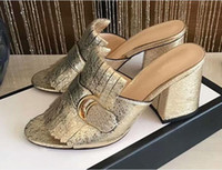Wholesale square mouth shoes - 2018 GCC new leather retro square head sandas metal buckle single slippers tassel women's shoes shallow mouth chunky high-heeled 10cm shoes