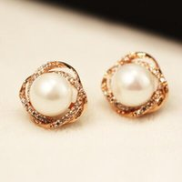 Wholesale small pearl gold earrings - Top Quality Small Earrings for Women   Girls Luxury Korean Pearl Earrings Rose Gold Plated Crystal Stud Earrings Jewelry Accessories