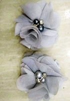 Wholesale beautiful gray hair for sale - Group buy BEAUTIFUL SILVER GRAY Chiffon Flowers Pearl Rhinestone Center Artificial Flower Fabric Flowers Children Hair Accessories Baby clips Flower
