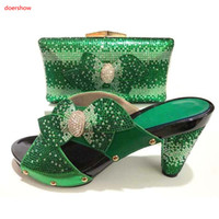 Wholesale handbags matching shoes - New fashion high heel shoes match bags series with big pearl decoration African shoes and handbag sets for party Green A1-16225