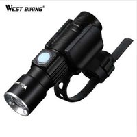luces de ciclismo al por mayor-WEST BIKING Bicicleta Light Ultra-Bright Stretch Zoom CREE Q5 200m Bicicleta delantera Linterna LED Lámpara recargable USB Ciclismo de luz