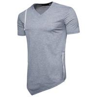 ingrosso maglia a manica v collo-maglietta del mens Maglietta casuale degli uomini della maglietta della maglietta del cotone della maglietta della chiusura lampo degli uomini divertenti di forma fisica Maglietta delle parti superiori del V-collo di modo