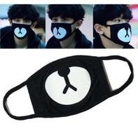 masques anti-poussière imprimés achat en gros de-Ours impression bouche masque facial anti-poussière chanceux ours coton bouche bouche masque noir mignon visage masques de couverture de protection