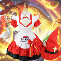 Wholesale Hot Female Maid - Hot game Glory of the king cosplay Anime Angela Aquarias cos magic Cook Halloween party girls sweet sexy Maid costume