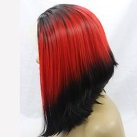 Wholesale bob red ombre wigs online - ombre bob wig short red synthetic lace front wig Glueless medium Natural Black Red Black Heat Resistant Hair Wig for black women
