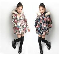 çiçek palto toptan satış-Sevimli nedensel küçük kız parkas coat 3-12yrs kızlar için çiçek kalın kapüşonlu palto çocuk çocuk giyim sıcak giysiler sıcak