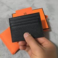 bancaria tarjeta de crédito al por mayor-Ultrafino titular de la tarjeta de identificación de cuero real moda clásico diseño de los hombres / mujeres titular de la tarjeta de crédito delgado de la tarjeta de identificación de banco con caja de polvo original