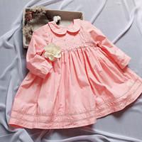 Wholesale little girls elegant dresses - girls dresses long sleeve Pet Pan collar embroidery little Daisy flowers pink dress girl's elegant soft girl dress